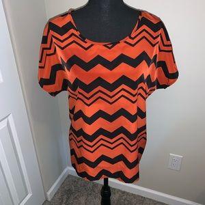 Zigzag print silk shirt